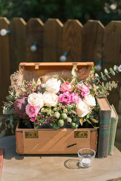 Flowers in a vintage box