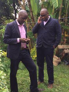 Ivan Mbowa and Munyutu Waigi from Umati Capital take the office with them to a Macadamia nut farm