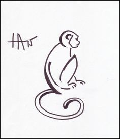 Sitting monkey. Monkey design for the annual T-shirt project at my Tai Chi organization. Ink on paper.