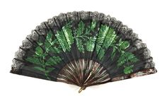 1900-1910 Fan: silk chiffon leaf with lace appliqué and metal sequins with incised and stained mother-of-pearl sticks and guards.