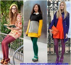 moda estilo maquillaje mujer ropa zapatos venta: USAR MEDIAS DE COLORES UNA MODA 2014