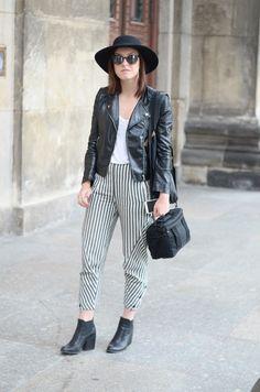 #fashion #streetsyle #hat #stripes #leather #jacket