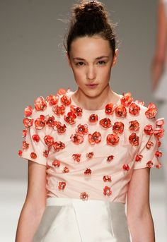 An elegant take on the 3-D floral trend we've seen this season at bibhu Mohapatra, feminine and cleanly executed #nyfw #ss14