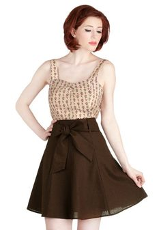 Musee Matisse Skirt in Cocoa. On your trip, you want to leave an impression! #brown #modcloth