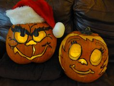 "Our family's ""Grinch"" and ""Cindy Lou Who"" pumpkins"