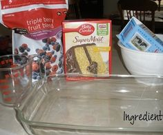 Ingredients, Mix & Bake Easy 3 ingredient berry cobbler.