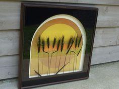 Vintage 70s Virgil Thrasher Lucid Lines Series Wheat 3D Glass Art