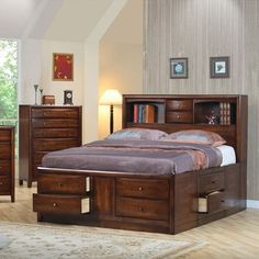 Coaster Home Furnishings Hillary California King Bookcase Bed with Underbed Storage Drawers Warm Brown Queen Size Storage Bed, King Storage Bed, Bedroom Storage, Storage Beds, Smart Storage, Storage Headboard, Bedroom Drawers, Storage Area, Extra Storage