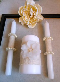Silver ribbon, coral flower for our candles