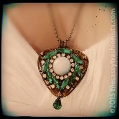Upcycled Vintage Emerald & Moonstone brooch and brass buckle necklace