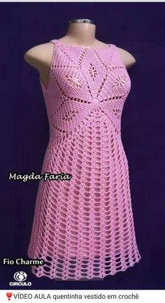 Mas vestidos a crochet, WEB Crochet Beach Dress, Crochet Wedding Dresses, Crochet Summer Tops, Crochet Tunic, Crochet Clothes, Crochet Lace, Crochet Dresses, Crochet Fashion, Dress Patterns