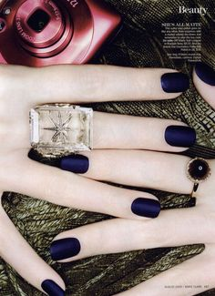 New Nail Polish Trends - Minxing and Matte Nail Polish - Marie Claire.OPI Matte Nail Lacquer in Russian Navy, Navy Blue Nail Polish, Navy Blue Nails, Matte Nail Polish, Nail Polish Trends, Nail Polish Colors, Nail Trends, Gel Nails, Color Nails, Acrylic Nails