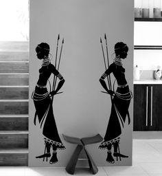 2 femme Guerrière Africaine appliqués muraux vinyl décoratif citation décalque décoration mural chambre de bain toilette
