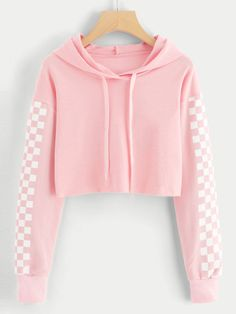 Contrast Checked Sleeve Crop HoodieFor Women-romwe - Contrast Checked Sleeve Crop HoodieFor Women-romwe Source by reikakazue - Girls Fashion Clothes, Teen Fashion Outfits, Outfits For Teens, Girl Fashion, Girl Outfits, Tomboy Outfits, Teen Clothing, Emo Outfits, Punk Fashion