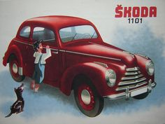 SKODA 1101 (1947) by René Vallente Tudor, Train Illustration, Vw Group, Car Posters, Old Signs, Small Cars, Car Car, Hot Cars, Vintage Ads