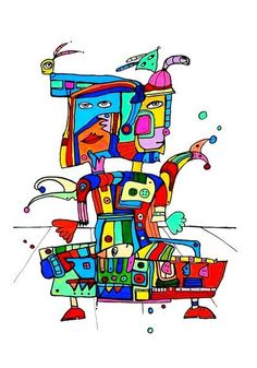 Pylokraten II von Etelka Kovacs-Koller - mad for art auf DaWanda.com Bart Simpson, Illustration, Artworks, Mad, Snoopy, Etsy, Fictional Characters, Drawing S, Illustrations