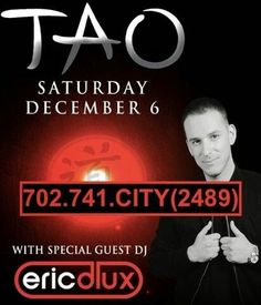 Eric D-lux at TAO Nightclub Las Vegas Saturday December 6th. Contact 702.741.2489 City VIP Concierge for Table and Bottle Service and the Best of Las Vegas VIP Nightlife Services. #TAOLasVegas #VegasNightclubs #LasVegasNightclubs #VegasVIPServices #LasVegasVIPServices #VegasBottleService #LasVegasBottleService #CityVIPConcierge *CALL OR CLICK TO BOOK* www.CityVIPConcierge.com