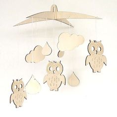 Owl wooden baby mobile nursery