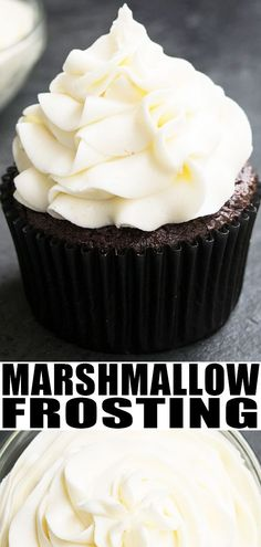 Marshmallow frosting recipe- quick, easy, made with 4 simple Cupcake Recipes From Scratch, Easy Cookie Recipes, No Egg Cupcake Recipe, Simple Cupcake Recipe, Easy Cupcake Icing Recipe, Simple Dessert Recipes, Simple Cupcakes, Pillsbury Recipes, Easy Baking Recipes