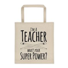 I'm a Teacher What's Your Superpower? Tote ❤ liked on Polyvore featuring bags, handbags, tote bags, pink handbags, tote bag purse, pink tote bag, pink tote handbags and pink purse
