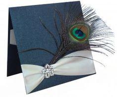 Peacock Feather And Flower Diamante Invitations - Invitación pluma de pavo y diamante