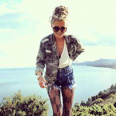 I love the tights and camo jacket!