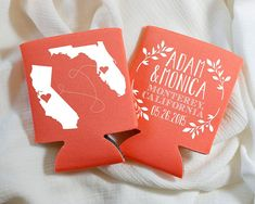 Personalized Koozies Wedding Koozies State Koozies by SipHipHooray