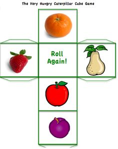 spring preschool counting dice game The Very Hungry Caterpiller Eric Carle Free Preschool, Preschool Printables, Preschool Lessons, Preschool Activities, English Activities, Preschool Books, Hungry Caterpillar Games, Dice Template, Cube Games