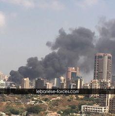 بالصور: حريق هائل عند طريق النهر - سن الفيل - Lebanese Forces Official Dentist انشا الله على سلامه