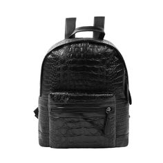 Woman Crocodile-Effect Textured Zip Closure Imitation Leather Backpack  Travel Luggage 4b466f218703