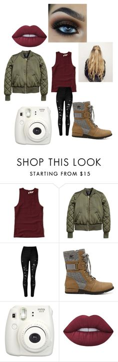 """Untitled #321"" by jazel117 on Polyvore featuring Hollister Co., SOREL, Fujifilm and Lime Crime"