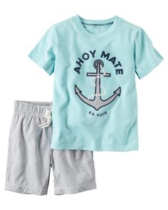 Baby Boy 2-Piece Graphic Tee & Striped Short Set Featuring a nautical graphic and pull-on shorts, this warm weather combo gets him dressed in a breeze.