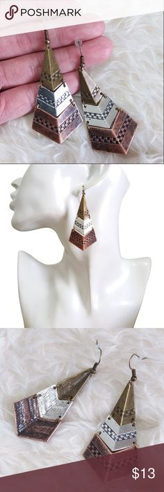 🔶 Antique Metal Rhombus Dangle Earrings Trending style! These Antique Metal Rhombus Dangle Earrings are super light weight !! Great gifting idea or add them to your fashionista collection- Be EarResistible!  Easy to wear, they will give a stylish boost to every outfit all day long. None Jewelry Earrings
