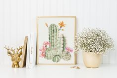 Watercolor Succulent Print-Watercolor Cactus Print-Succulent Art Print-Pink Flower Succulent-Pink Flower Cactus-Instant Download-Wall Art by ThePaperWildflower on Etsy