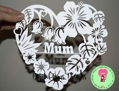 Mum Heart Flower Papercut Template, SVG / DXF Cutting File for Cricut / Silhouette & PDF Printable For Hand Cutting, Digital Download, by DigitalGems on Etsy