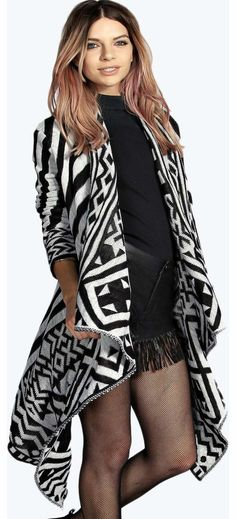 boohoo Emily Geo Trim Stripey Waterfall Cardigan - Get the blanket dressing trend all wrapped up in this graphic print cardigan ! With its relaxed waterfall hem, we love to throw it on over a basic tee , with skinny jeans and heeled ankle boots . http://www.comparestoreprices.co.uk/womens-clothes/boohoo-emily-geo-trim-stripey-waterfall-cardigan-.asp