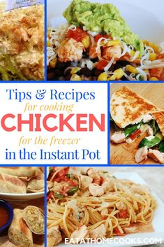 Tips, recipes and a video Instant Pot chicken recipes for the freezer wraps up our series on cooking meat and protein for the freezer. Side Dish Recipes, Pork Recipes, Chicken Recipes, Dinner Recipes, Cooking Recipes, Healthy Recipes, Delicious Recipes, Cooking Games, Unique Recipes