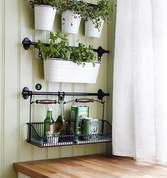 IKEA-22-rail-10-hooks-3-cutlery-caddy-pot-3-artificial-plants-herb-FINTORP