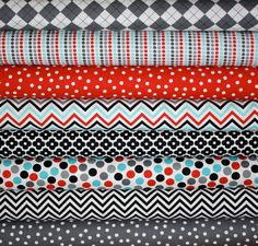 New Red Aqua Gray Remix fabric bundle by Ann Kelle by fabricshoppe, $22.00 loving the color combos here