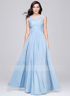 A-Line/Princess Scoop Neck Floor-Length Chiffon Tulle Evening Dress With Ruffle Beading Appliques Lace Sequins (017064187) - JJsHouse
