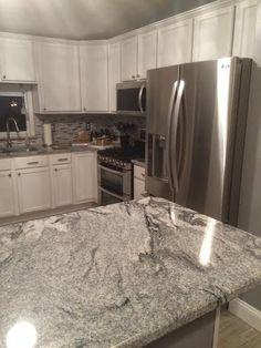 White Kitchen Cabinets With Gray Granite Countertops Backsplash