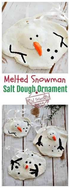 A DIY Melted Snowman and Candy Cane Salt Dough Ornament Idea and Recipe for Christmas #ornaments #diy #snowman
