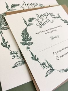 Rustic botanical wreath wedding invitation design. Beautiful wedding stationery lovingly made and designed in the UK. We would love to hear from you to discuss your requirements info@eatonstationery.co.uk