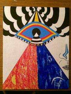 """Finished self portrait Acrylic Paint """"The Third Eye of Day and Night"""""""