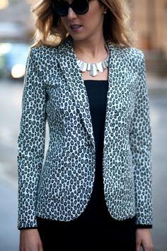 The Classy Cubicle:  Jacket: Rachel Zoe  |  Dress: Nicole Miller (similar here) |  Shoes: Asos  |  Necklace: H&M c/o (similar here)  |  Earrings: Giani Bernini  |  Tights: DKNY  |  Sunglasses: Prada