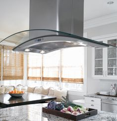 """GE Monogram ZV925SLSS 36"""" Island Chimney Range Hood with 570 CFM Internal Blower, 4-Speed Fan, Touch Controls, LCD Display, Glass Canopy and Convertible to Recirculating"""