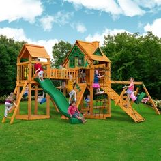 221b0c1f8390c Gorilla Playsets Pioneer Peak Treehouse Swing Set with Fort Add-On   Timber  Shield