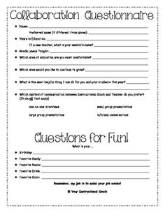 Instructional Coaching Questionaire