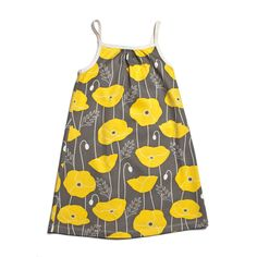 Pinwheel Dress - Poppies Grey & Yellow - Winter Water Factory