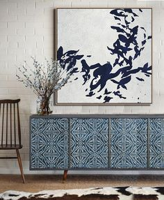 Abstract Flower Painting on canvas, Hand-painted Navy blue and White minimalist Painting by CZ Art Design Furniture Makeover, Diy Furniture, Furniture Design, Flower Painting Canvas, Canvas Art, Painting Art, Minimalist Painting, Minimalist Art, Interior Inspiration